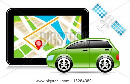 Vector Illustration of GPS - Global Positioning System. Best for Navigation, Transportation, Travel, Technology, Electronics concept.