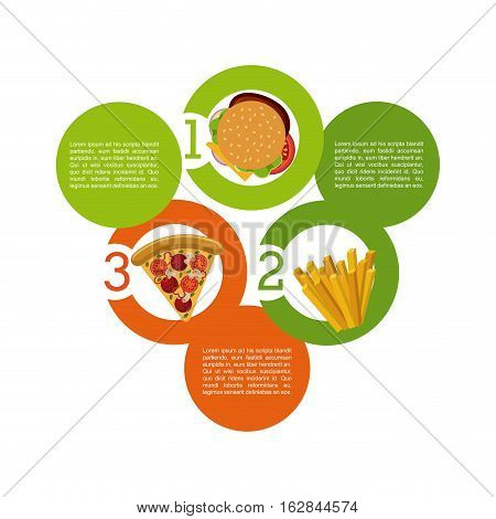 infographic presentation of food with fast food icons. colorful design. vector illustration