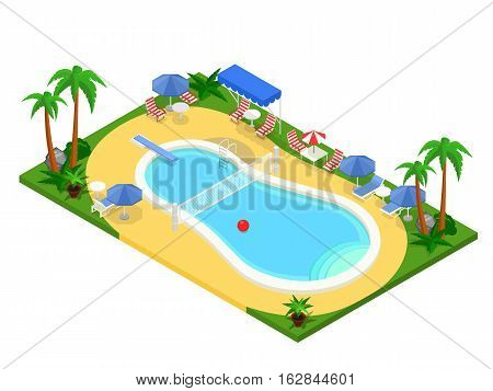 Realistic isometric outdoor swimming pool. Creative 3D vector illustration, summer vacation concept. Basin design used for infographics, map creation or banner, poster, card.