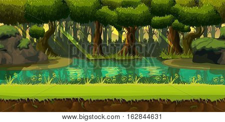 Seamless spring forest landscape, never ending nature background with separated layers for game design .2d game application. Illustration for your application , project.