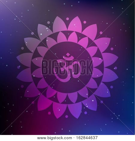 Vector Lotus Mandala with Om Symbol on a Cosmic Background