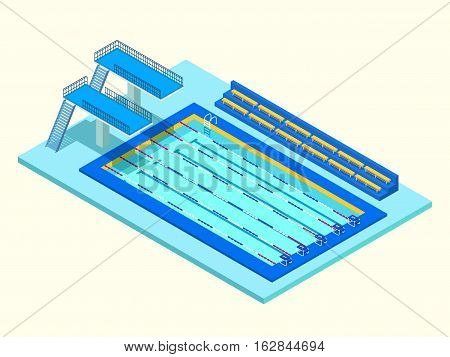 Realistic isometric sport pool. Creative 3D vector illustration with basin, tower jump and tribune. Perspective design used for infographics, banner, poster or card creation.