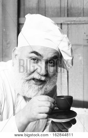 Cook Drinking Coffee