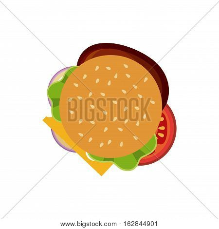 hamburger with vegetables icon over white background. colorful design. top view. vector illustration
