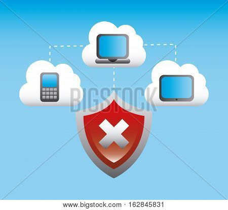 wrong shield with smartphone, laptop computer and tablet devices icon over blue background. colorful design. vector illustration