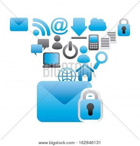 envelope and padlock with social network around over white background. colorful design. vector illustration