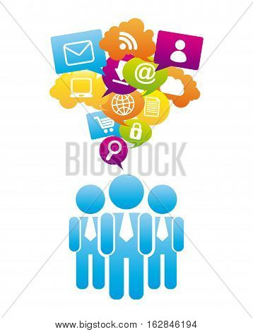 people with social networks icons around over white background. colorful design. vector illustration