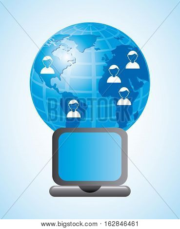 earth planet and laptop computer device icon. colorful design. vector illustration