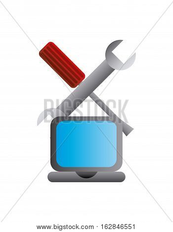 laptop computer and repair tools icon over white background. colorful design. technical support concept. vector illustration