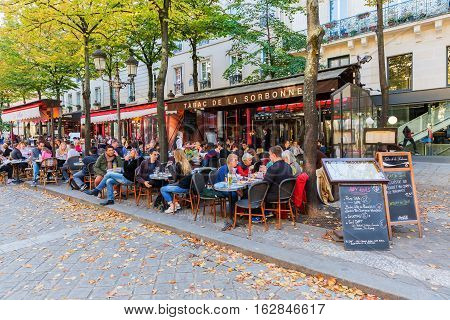 Street Restaurants Beside Sorbonne University In The Latin Quarter, Paris, France