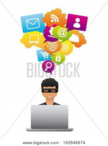 cartoon hacker man with laptop computer icon over white background. cyber security concept. colorful design. vector illustration