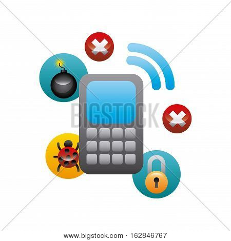smartphone device with cyber security icons around over white background. colorful design. vector illustration