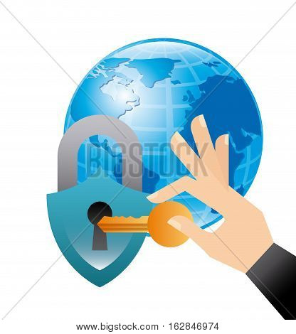 earth planet with padlock and hand holding a key icon over white background. colorful design. vector illustration