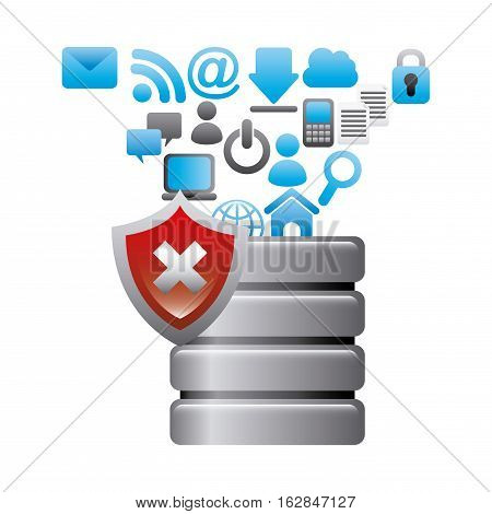 data center with wrong shield and social network icons around over white background. colorful design. vector illustration