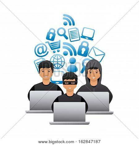 cartoon hackers men with laptops computers icon over white background. cyber security concept. colorful design. vector illustration