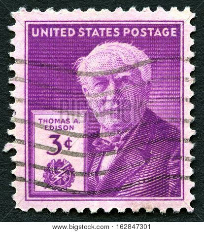 UNITED STATES OF AMERICA - CIRCA 1947: A used postage stamp from the USA depicting an illustration of famous inventor Thomas A. Edison circa 1947.