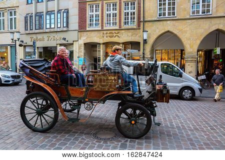 Historic Horse Carriage In Muenster, Westphalia, Germany