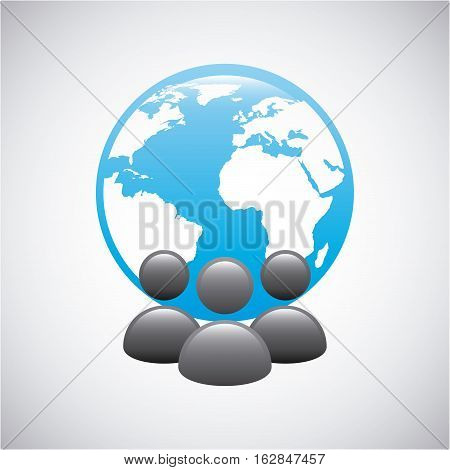 people users with earth planet icon over white background. colorful desing. vector illustration