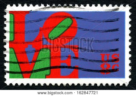 UNITED STATES OF AMERICA - CIRCA 1973: A postage used postage stamp from the USA depicting the word LOVE circa 1973.