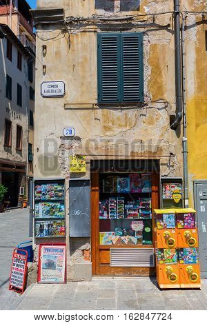 Small Kiosk In The Medieval Old Town Of Lucca, Tuscany, Italy