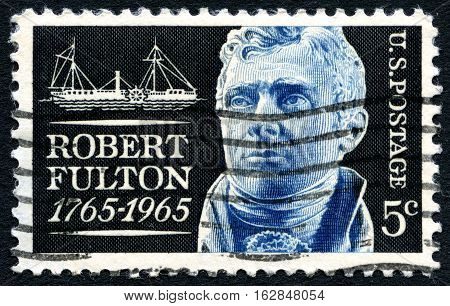 UNITED STATES OF AMERICA - CIRCA 1965: A used postage stamp from the USA commemorating the life of inventor Robert Fulton circa 1965.