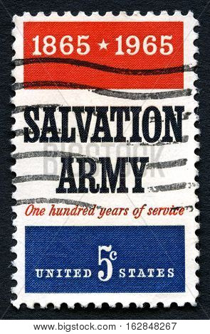 UNITED STATES OF AMERICA - CIRCA 1965: A used postage stamp from the USA celebrating the 100th Anniversary of the Salvation Army circa 1965.