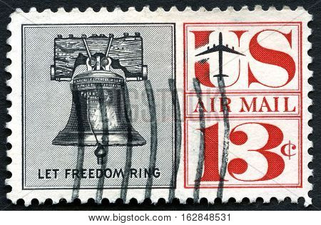 UNITED STATES OF AMERICA - CIRCA 1967: A used postage stamp from the USA depicting an illustration of the Liberty Bell with the inscription Let Freedom Ring circa 1967.