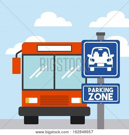 bus vehicle icon on parking zone. colorful design. vector illustration