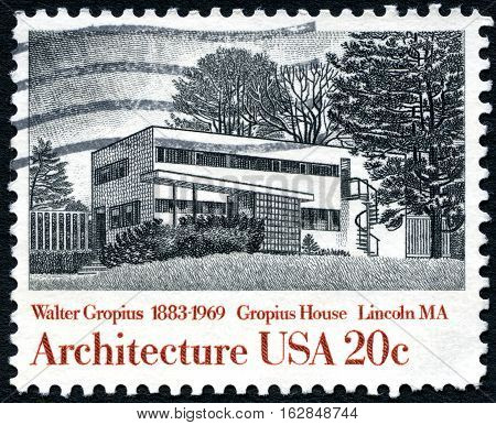 UNITED STATES OF AMERICA - CIRCA 1982: A used postage stamp from the United States of America dedicated to architect Walter Gropius - the architect of Gropius House circa 1982.