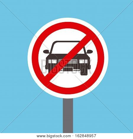 sign of not parking here icon blue white background. vector illustration