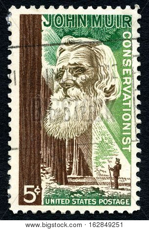 UNITED STATES OF AMERICA - CIRCA 1964: A used postage stamp from the USA depicting an illustration of famous American Naturalist and Conservationist John Muir circa 1964.
