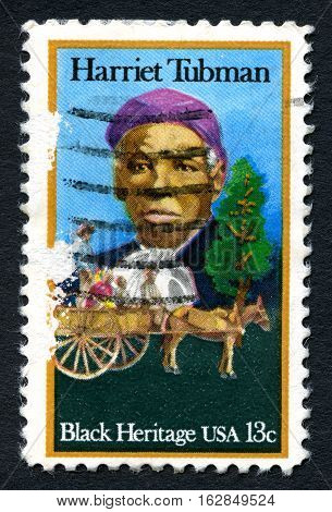 UNITED STATES OF AMERICA - CIRCA 1996: A used postage stamp from the USA depicting an illustration of famous abolitionist and humanitarian Harriet Tubman circa 1996.