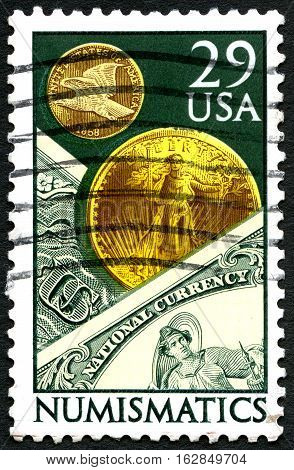 UNITED STATES OF AMERICA - CIRCA 1991: A used postage stamp from the USA dedicated to Numismatics - the study or collection of currency circa 1991.