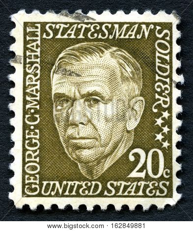 UNITED STATES OF AMERICA - CIRCA 1965: A used postage stamp from the the USA depicting an illustration of Statesman George C. Marshall circa 1965.