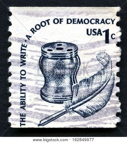 UNITED STATES OF AMERICA - CIRCA 1980: A used postage stamp from the USA celebrating democracy in the United States circa 1980.