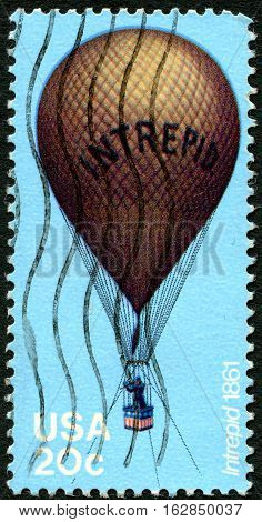 UNITED STATES OF AMERICA - CIRCA 1983: A used postage stamp from the USA depicting an illustration of reconnaissance Balloon Intrepid used during the American Civil War circa 1983.