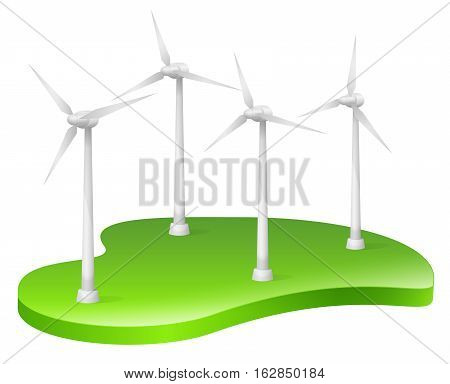 Vector Illustration of Wind Turbines. Best for Alternative Energy, Technology, Conservation, Recycling, Green Energy concept.