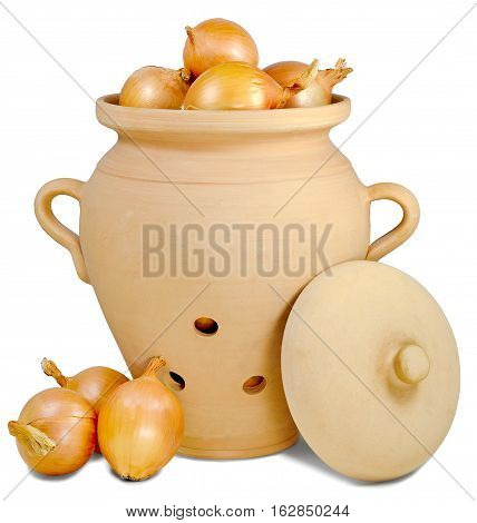 pitcher brown ceramic with three holes and with a lid for storing vegetables three heads of onions lying near the jug on the table isolated on white background