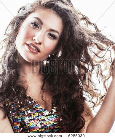 young brunette woman with curly hairstyle in fancy glamur dress isolated on white background gesturing emotional crazy