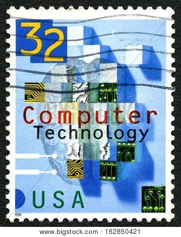 UNITED STATES OF AMERICA - CIRCA 1996: A used postage stamp from the USA celebrating Computer Technology circa 1996.