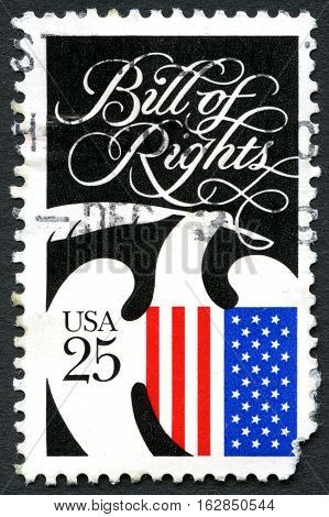 UNITED STATES OF AMERICA - CIRCA 1989: A used postage stamp from the USA commemorating the Bill of Rights and Constitution Bicentennial circa 1989.