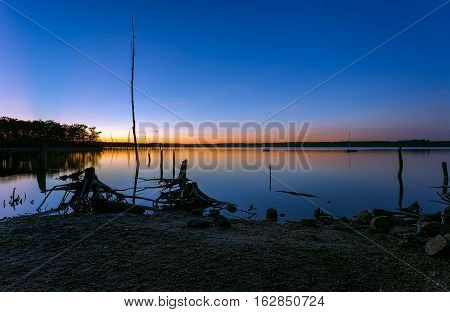 Manasquan Reservoir in New Jersey USA about 20 minutes after sunset during the blue hour