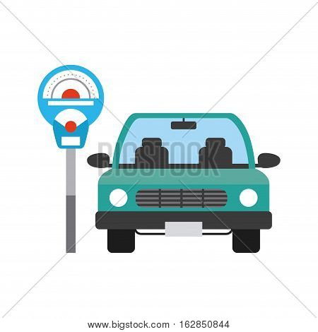 parked car and parkin meter device icon over white background. colorful design. vector illustration