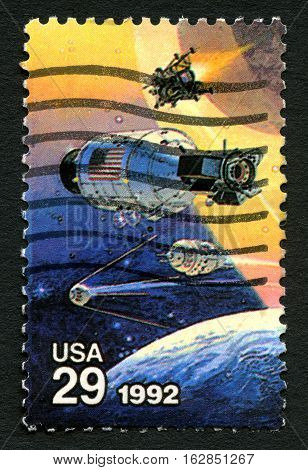 UNITED STATES OF AMERICA - CIRCA 1992: A used postage stamp from the USA celebrating the Achievements in Space by both the USA and Russia circa 1992.