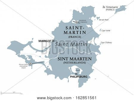 Saint Martin political map. Caribbean island with countries Saint-Martin, France and Sint Maarten, The Netherlands. Capitals Marigot and Philipsburg. Gray illustration with English labeling. Vector.