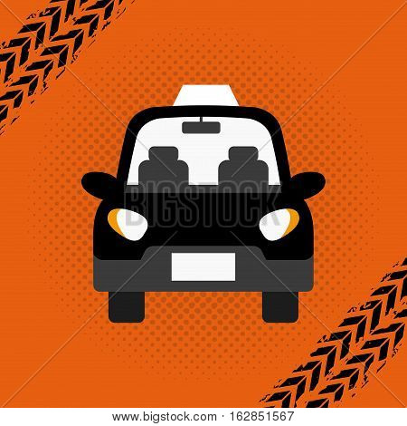 taxi car vehicle icon over orange background. colorful design. vector illustration