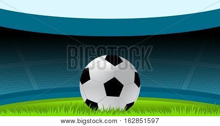 Vector Illustration of Soccer Ball inside the Stadium. Best for Sport, Soccer, Football, Fitness, Competition concept.