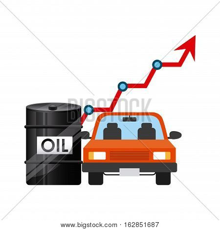 oil barrel and car vehicle icon over white background. colorful design. vector illustration