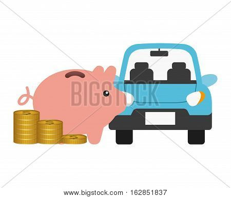 car vehicle and piggy moneybox and gold coins over white background. colorful design. vector illustration