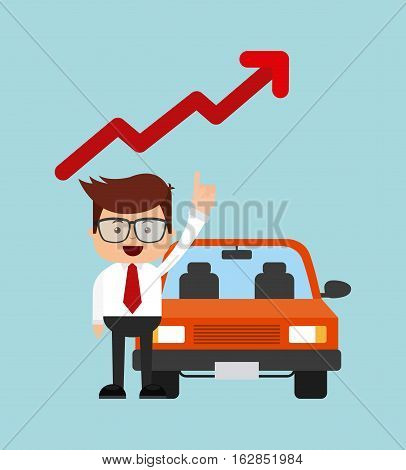 businessman and car vehicle and red up arrow direction over blue background. colorful design. vector illustration